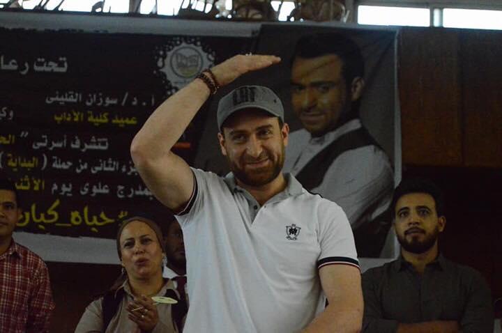 بالصور : جامعه عين شمس تكرم الفنان نضال الشافعي فى ندوى كبري بكليه الاداب